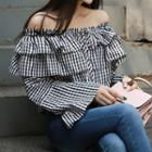 Off-shoulder Check Ruffled Blouse