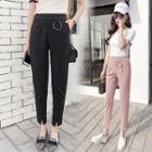 Slit-front Cropped Tapered Pants