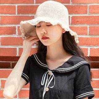 Fringed Trim Straw Bucket Hat