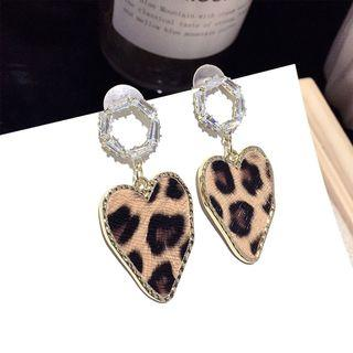 Leopard Print Heart Dangle Earring 1 Pair - Silver Needle - Gold - One Size