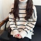 Turtleneck Striped Oversize Sweater
