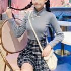 Mock Neck Blouse / Pleated Plaid Skirt