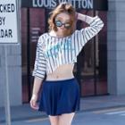 Set: Striped Bikini Top + Swim Skirt + Cover-up