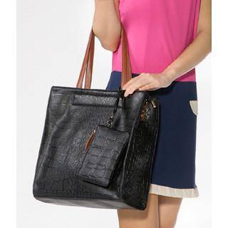 Croc-grain Tote With Pouch Black - One Size