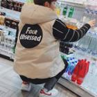 Lettering Hooded Button Padded Vest