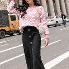 Patterned Sweater / Midi Buttoned Knit Skirt / Set