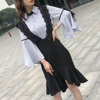Lace Panel Suspender Skirt
