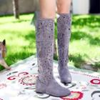 Patterned Cutout Tall Boots