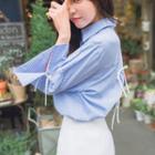 Bow Detail Striped Shirt
