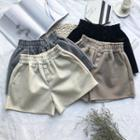 Button-detail Elastic-waist Shorts