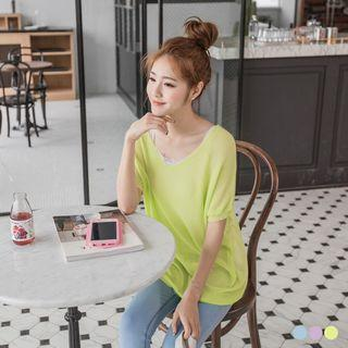 Sheer Knit Long Dolman Top