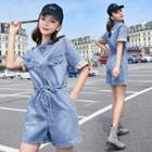 Short Sleeve Denim Playsuit