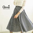 Gingham Midi A-line Skirt
