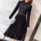 Mock Two-piece Long-sleeve Pleated Midi Dress