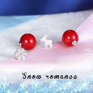 Cz Sterling Silver Faux-pearl Studs