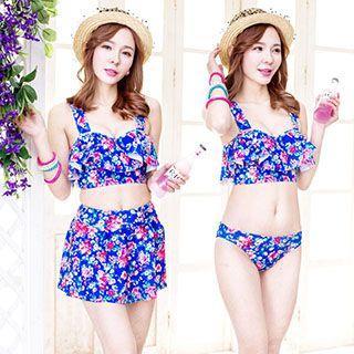 Set: Floral Print Bikini + Swim Skirt