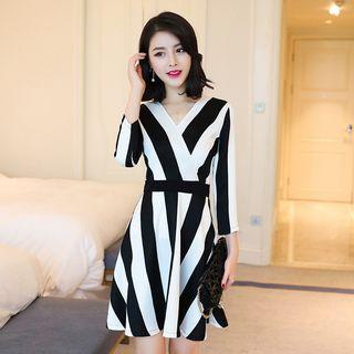 Striped Long Sleeve Flared Dress