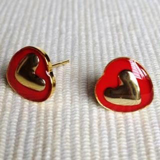 Resin Heart Earrings (red) One Size