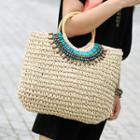 Yso-beaded Straw Tote