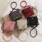 Chain Strap Tweed Bucket Bag