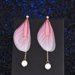 Faux Pearl Wings Fringed Earring