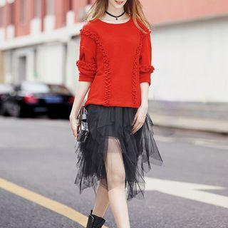 Frilled-trim Knit Top