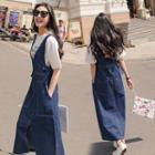 Pinafore Denim Midi Dress