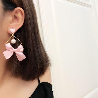 Bow-accent Heart Faux-pearl Drop Earrings