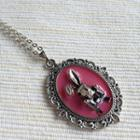 Silver Bunny Necklace (pink) One Size
