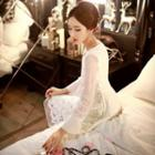 Tulle-sleeve Lace Dress