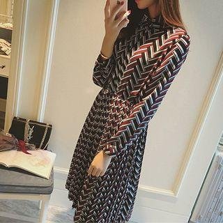 Long-sleeve Printed Dress Red - One Size