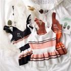 Sleeveless Striped Knit Peplum Top