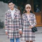 Plaid Double Breasted Notch Lapel Coat