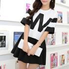 Set: Contrast Letter Short-sleeve T-shirt + Skirt