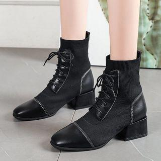 Chunky-heel Knit Panel Lace-up Short Boots