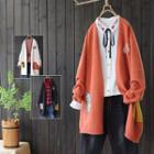 Cat Open Front Long Cardigan