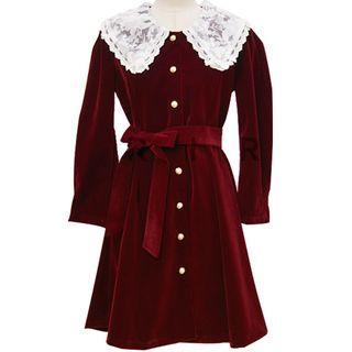 Lace Collar A-line Buttoned Velvet Dress