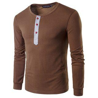 Long-sleeve Contrast-trim Buttoned Top