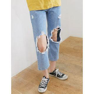 Distressed Straight-cut Cropped Jeans