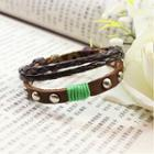 Studded Braid Genuine-leather Layered Bracelet