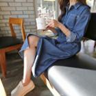 Multi-pocket Stitched Denim Midi Dress