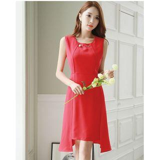 Sleeveless Sheer Panel A-line Dress