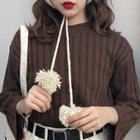 Plain Striped Crewneck Long-sleeve Knit Top
