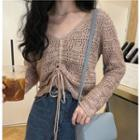 Pointelle Drawstring Knit Top