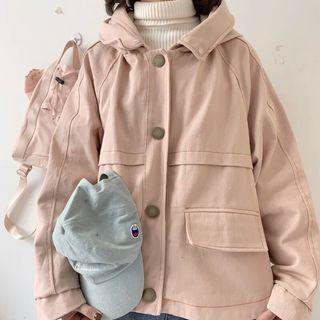 Furry Trim Snap Button Hooded Jacket