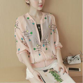 Embroidered 3/4-sleeve Light Jacket