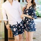 Couple Matching Floral Playsuit / Beach Shorts