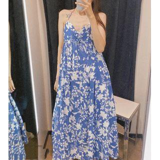 Cross Back Floral Sleeveless Maxi Dress