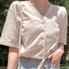 Short-sleeve V-neck Drawstring Hem Blouse