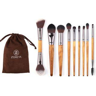 Set Of 9: Wooden Handle Makeup Brush 9 Pcs - Yellow - One Size